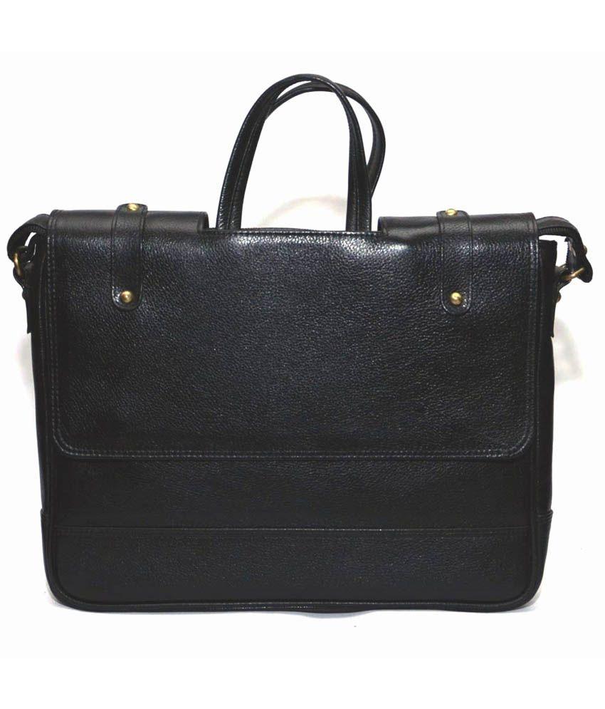 Bag Jack Velorum Black Leather Office Messenger Bag