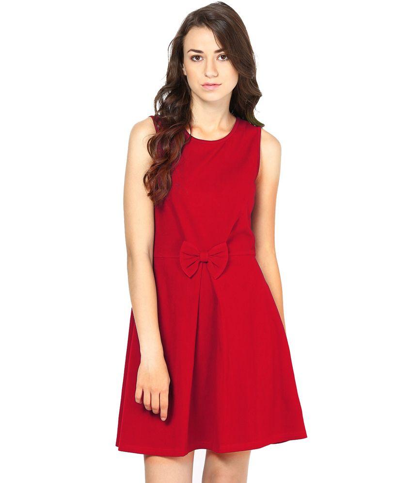 Besiva Maroon Cotton Dresses