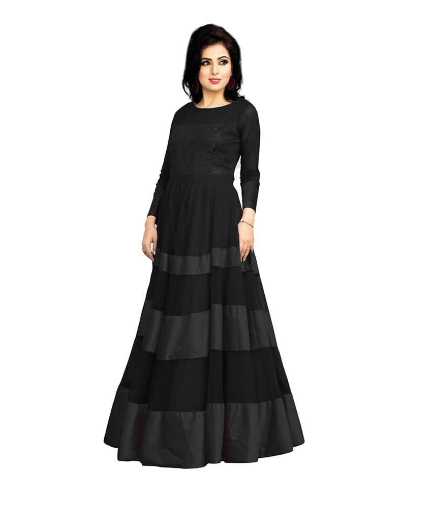 c126a48cdbb Jiya Black Net Gowns - Buy Jiya Black Net Gowns Online at Best Prices in  India on Snapdeal