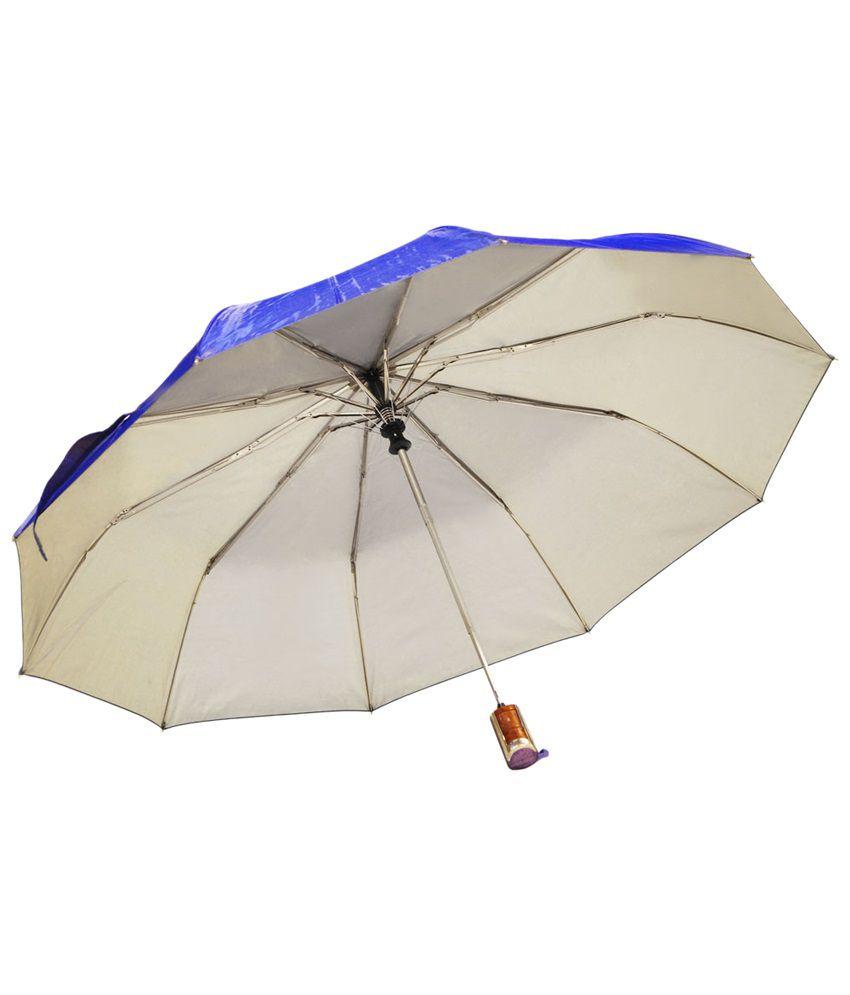 49c3cc4f7e9da ... Mohendra Dutt & Sons Blue Auto Open Three Fold Umbrella With Cover ...