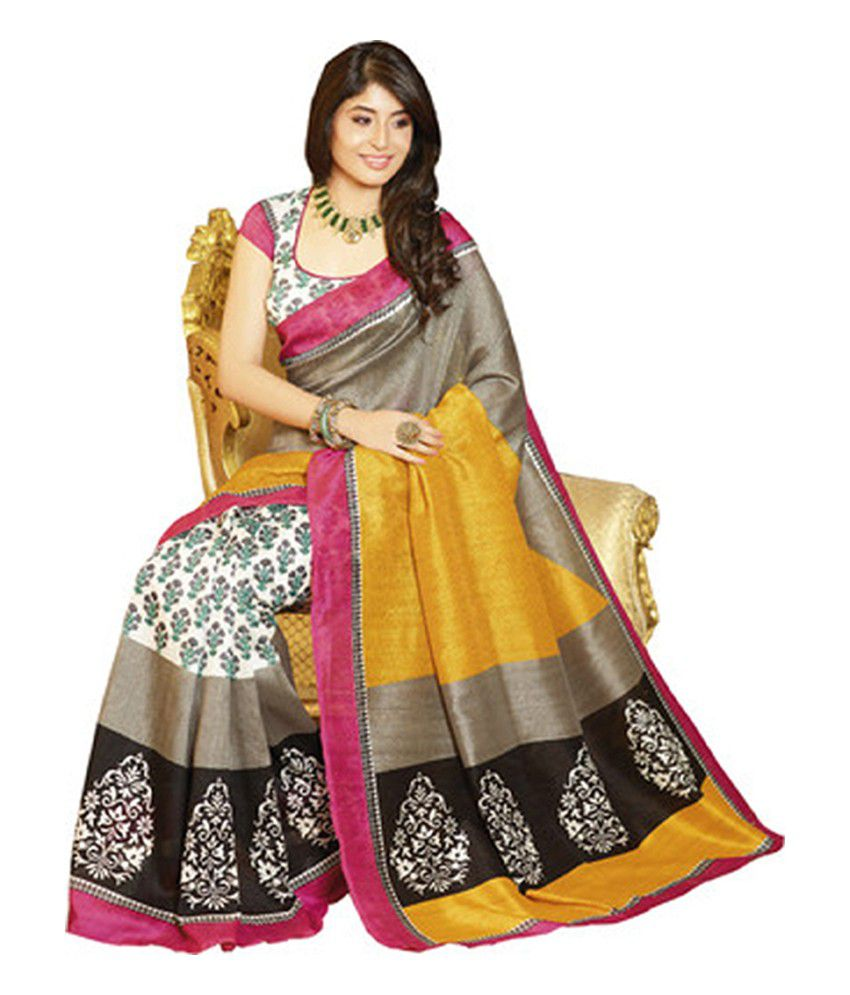 Navdevta sarees brown bhagalpuri silk saree buy navdevta for Buy art online india