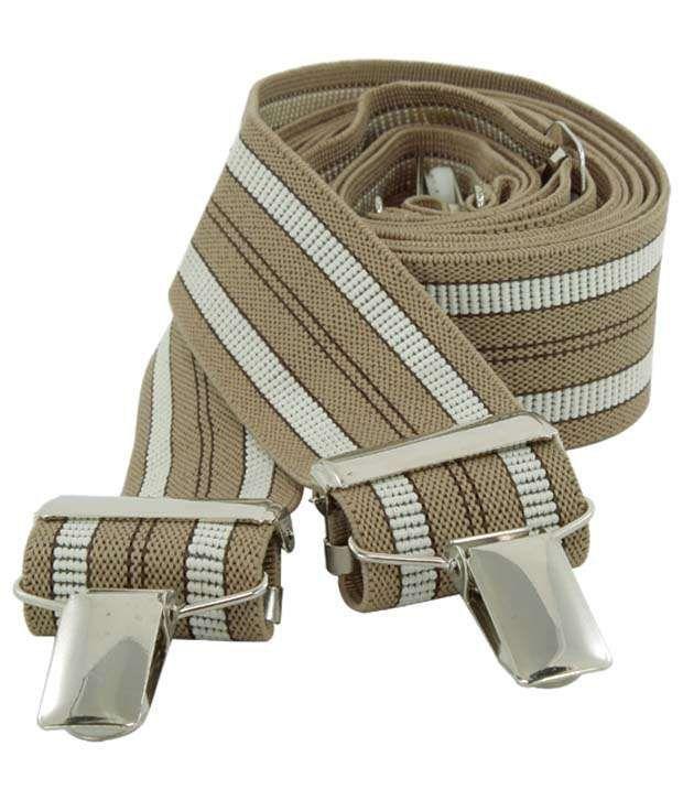 Orosilber Brown & White Micro Fibre Suspenders For Men