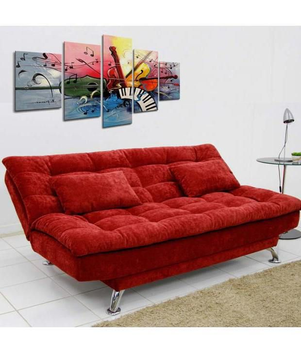 Sunrise three seater sofa cum bed maroon buy sunrise for Sofa bed india