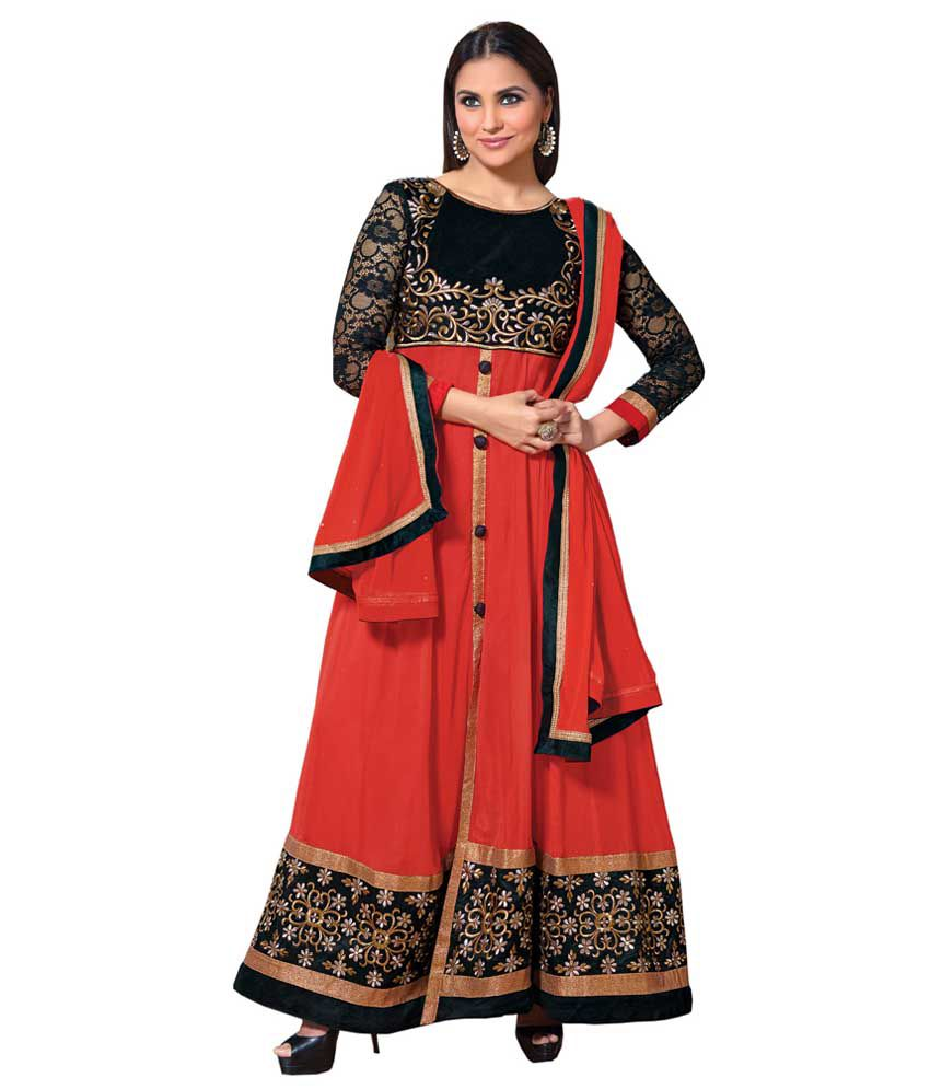 Angel Fashion Multi Faux Georgette Stitched Suit