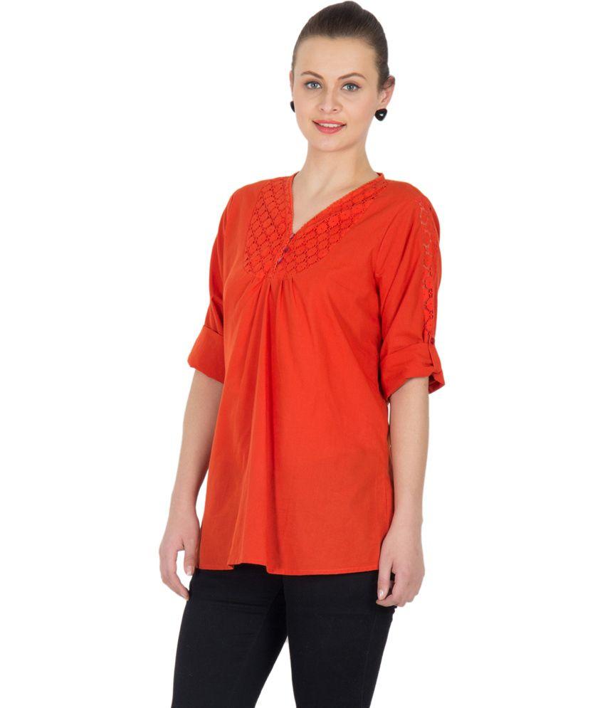 d464ee3d3 U F Orange Cotton Tops - Buy U F Orange Cotton Tops Online at Best Prices  in India on Snapdeal