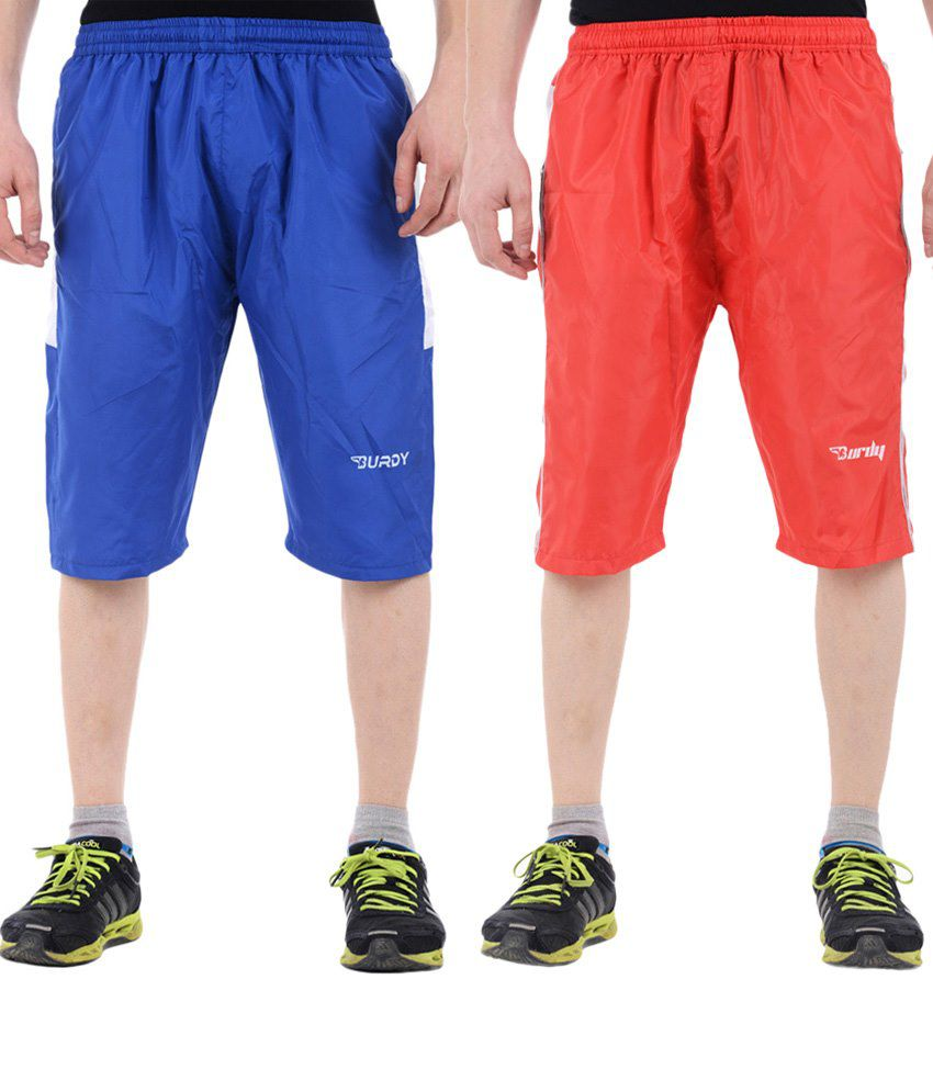 Burdy Combo Of 2 Blue & Red Polyester Capris With Net