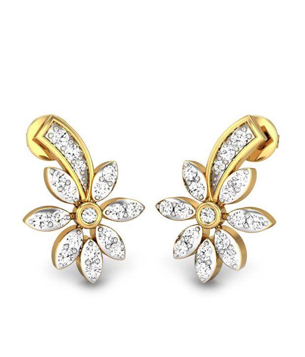 Candere Bindiya Diamond Earring Yellow Gold 14K