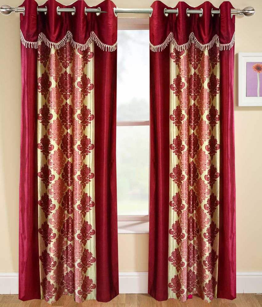 Homefab India Set of 2 Door Eyelet Curtains Ethnic Red