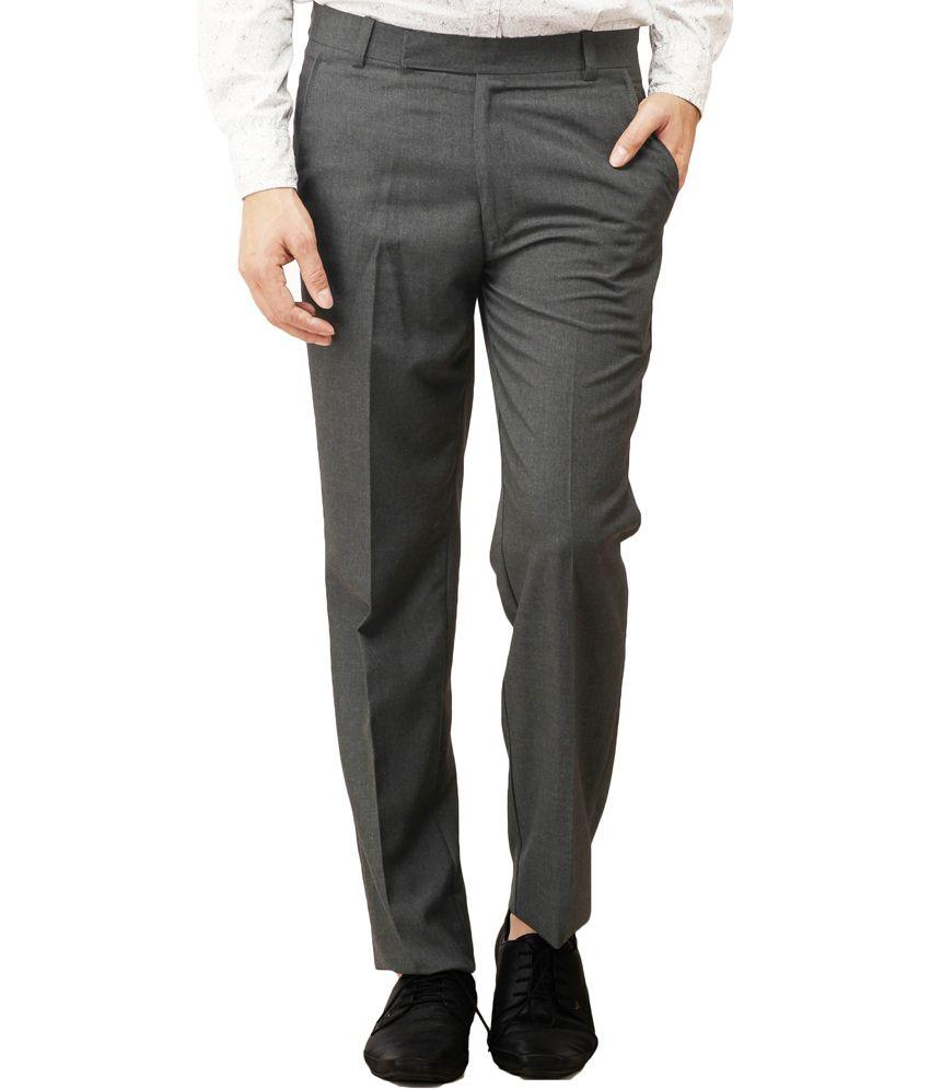 Pede Milan Grey Cotton Blend Slim Fit Formal Trouser