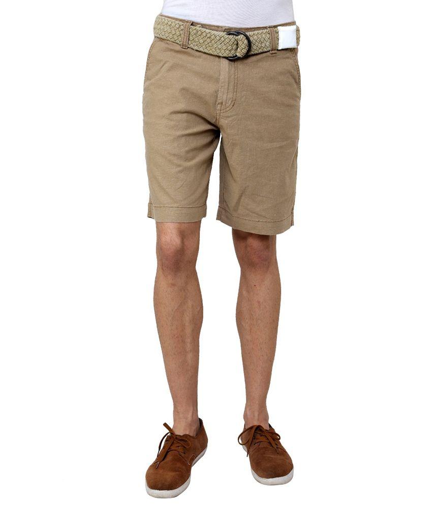 Wear Your Mind Beige Linen Solid Shorts