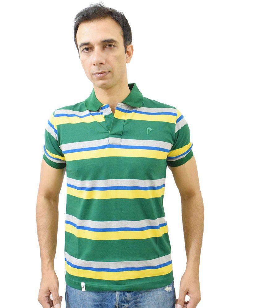 Puffz Yellow Cotton Blend Round Neck Half Sleeves T-shirt