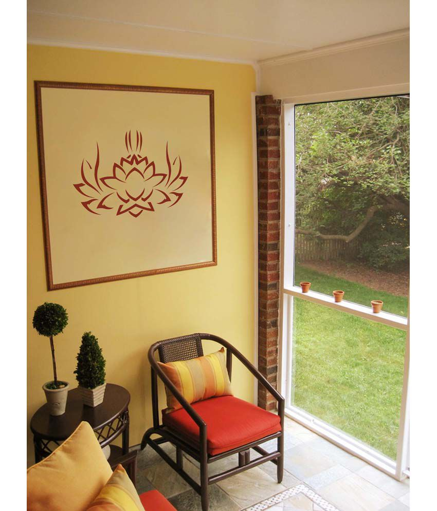 WallDesign Tribal Lotus Brown Wall Sticker