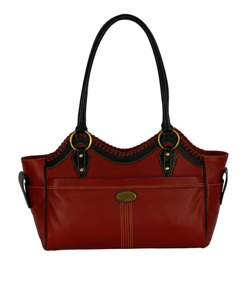 Zifana Joyce Red Black Leather Designer Shoulder Bag