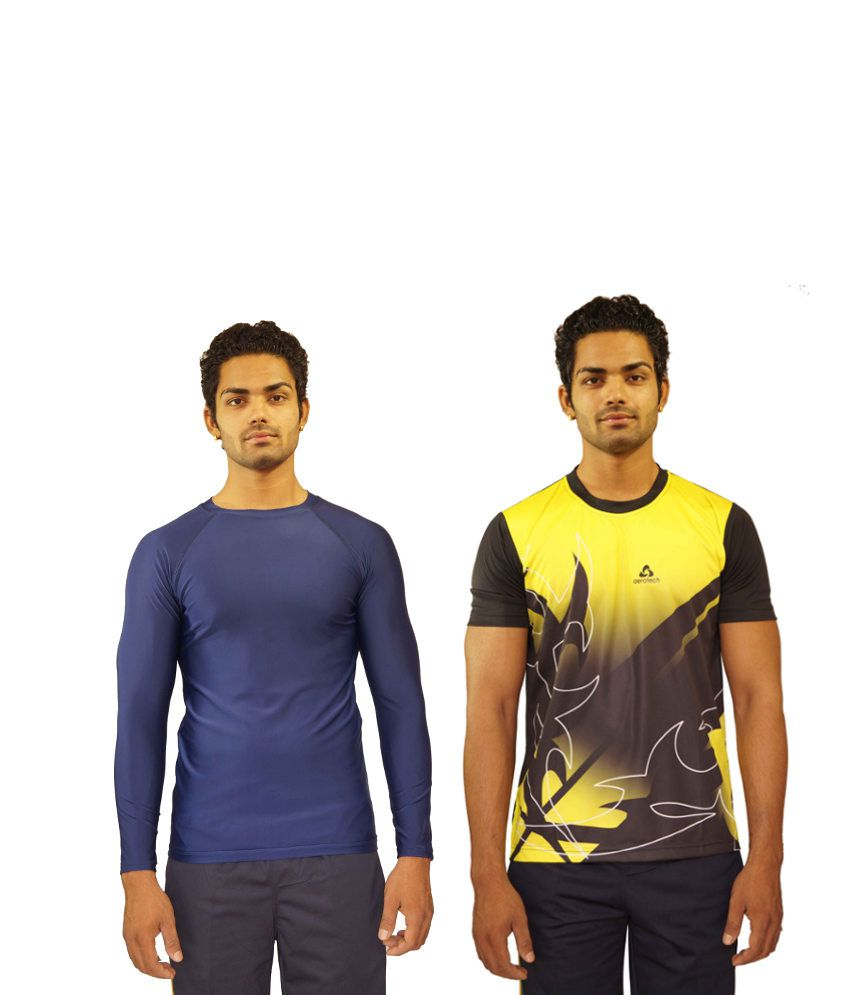 Aerotech Combo Of 2 Blue and Yellow Blended Cotton T-shirts