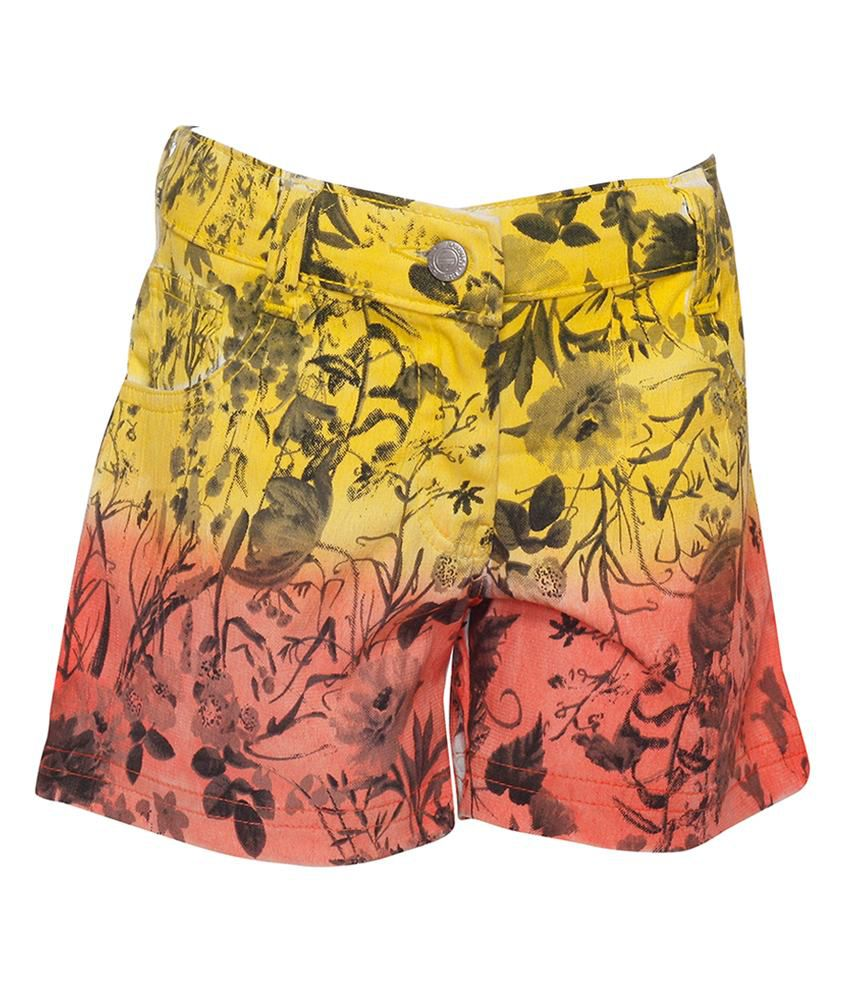 Joshua Tree Tropical Tide Yellow and Orange Printed Shorts