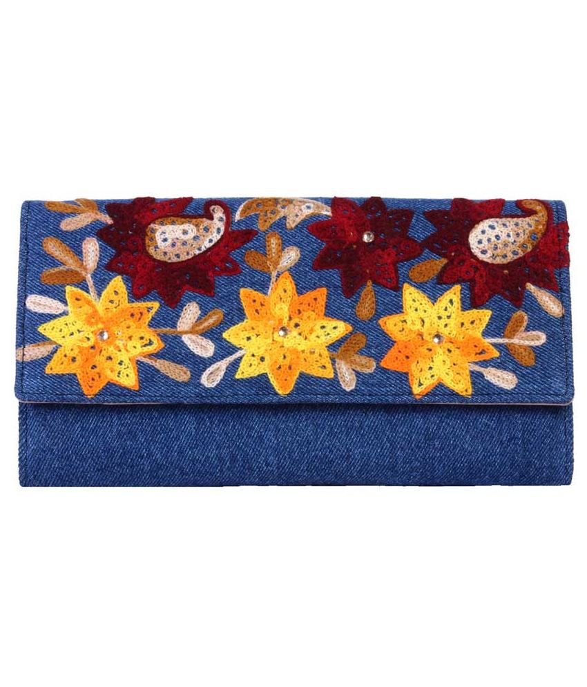 Pooams Carry-a-way Blue Non Leather Casual Regular Wallet For Women
