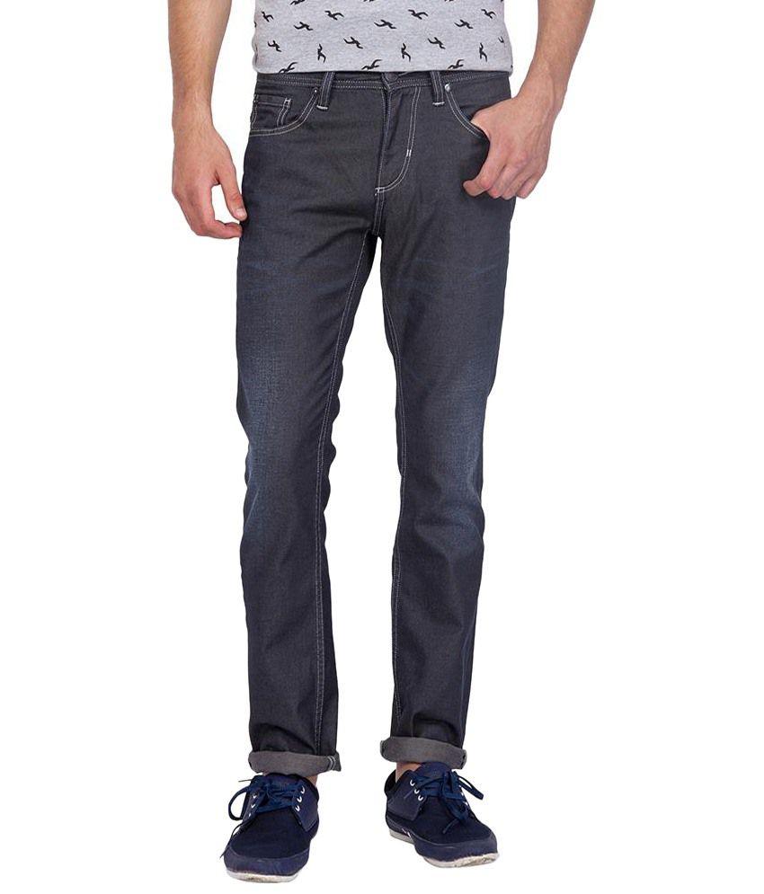 Slub Dark Gray Cotton Blend Faded Jeans For Men