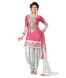 Zombom Fashion Pink Chanderi Unstitched Dress Material