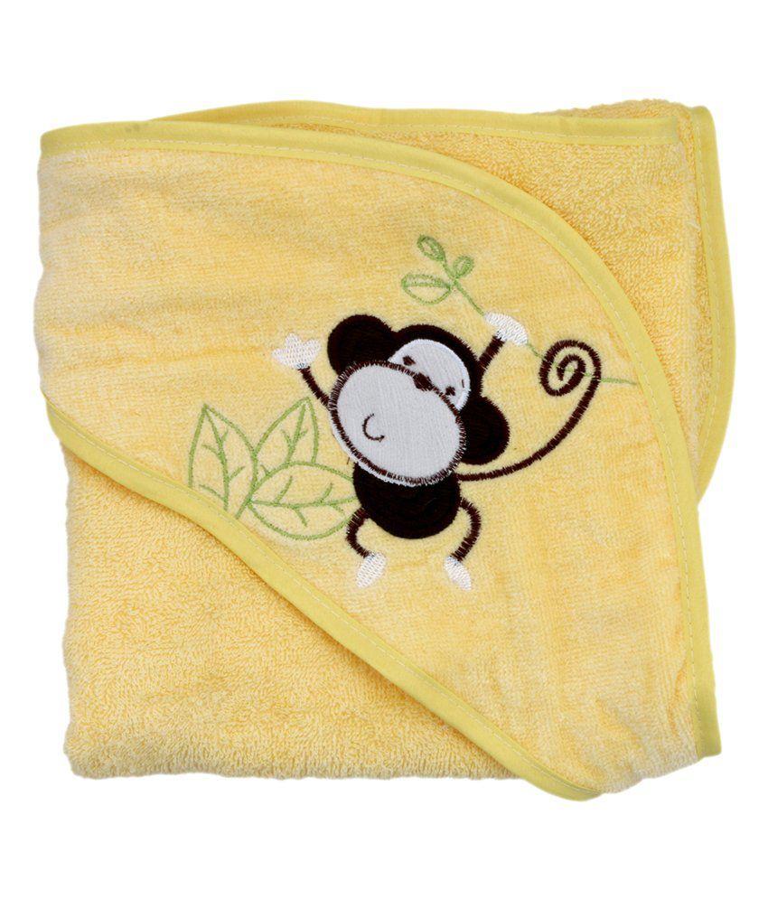 Belle Maison Yellow Hooded Veloure Baby Towel (75 x 75 CM)