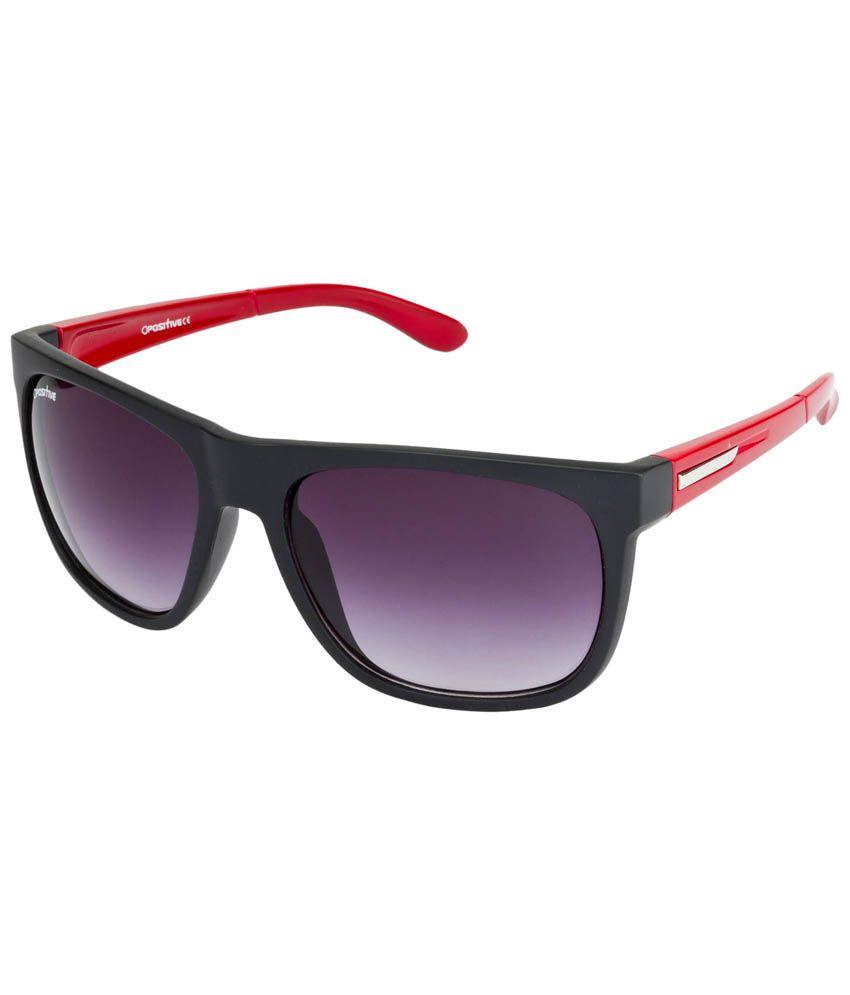 O Positive Jet Black & grey Square Sunglasses For Men