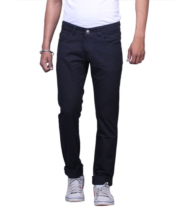 X-Cross Black Denim Regular Fit Jeans For Men'S