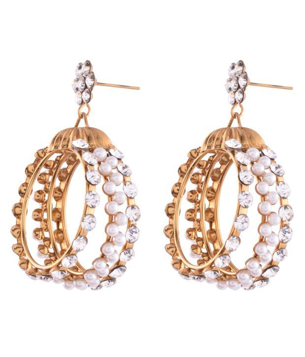 Ganapathy Gems Designer Hoops With White Stones And Pearls