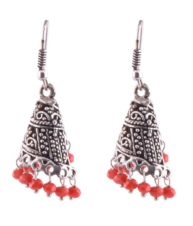 Ganapathy Gems Oxodised Silver Spiral Jhumki With Coral Crystal Drops