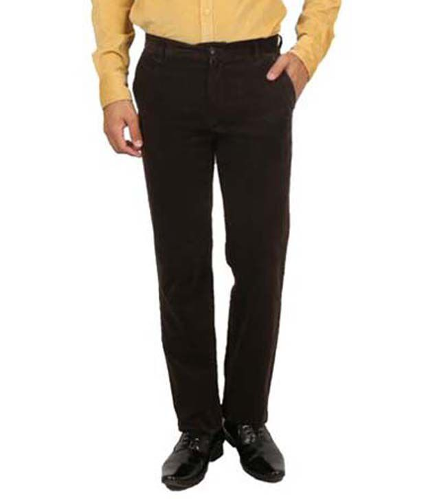 Maple Green Cotton Lycra Slim Fit Casual Trouser