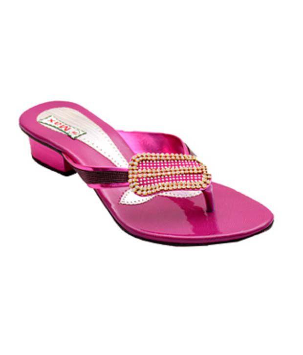 Naman Traders Pink Fabric Low Heel Slip-ons