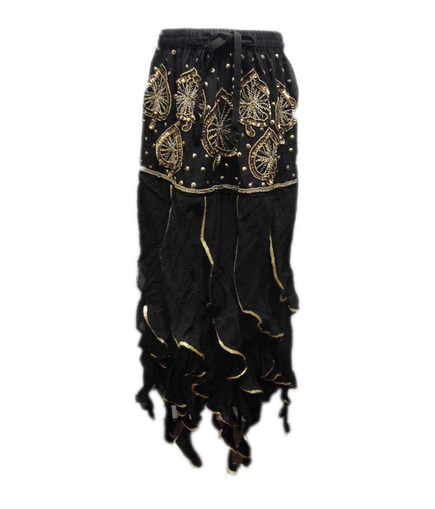 Threads Black Silk Elastic Printed Skirts