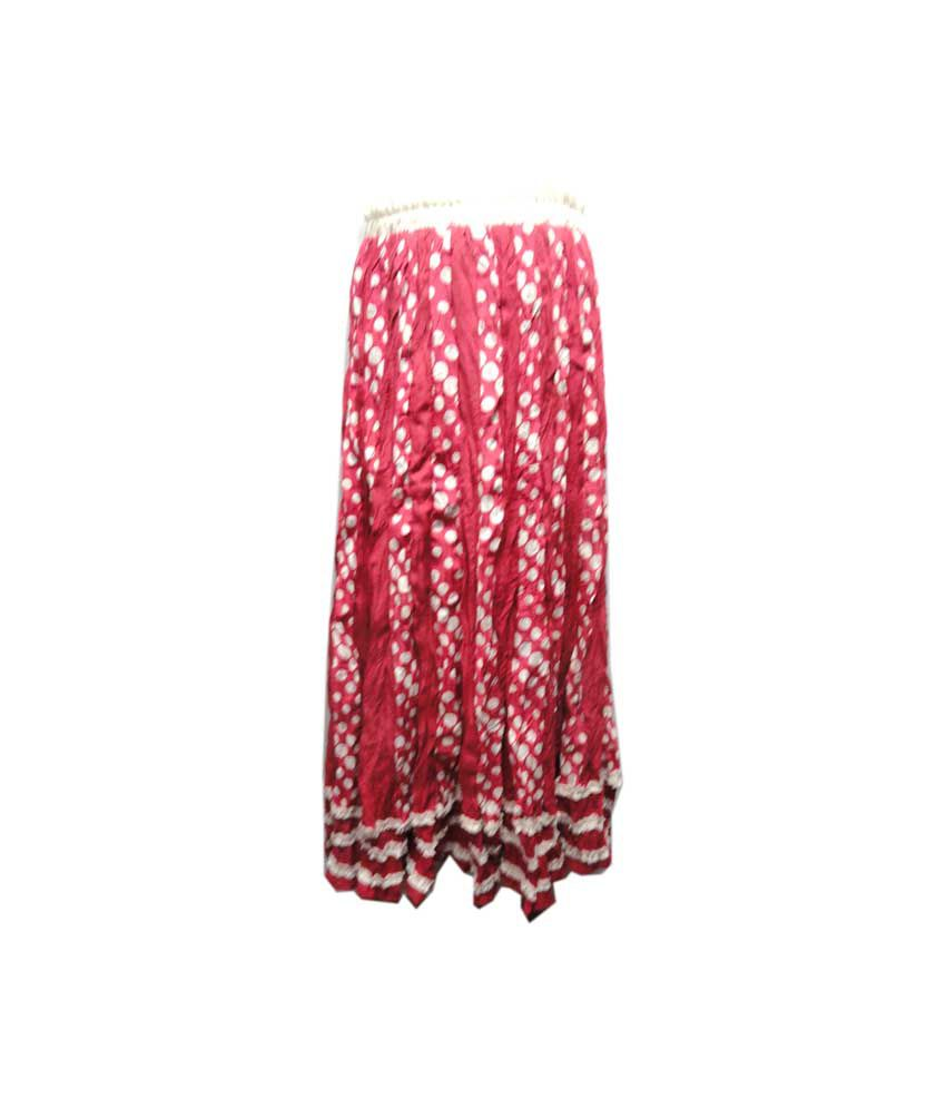 Threads Pink Cotton Elastic Printed Skirts
