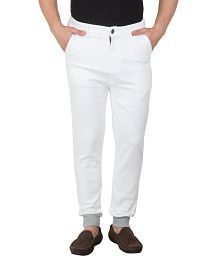 Hypernation White Color With Grey Rib on The Bottom Cotton Pant For Men