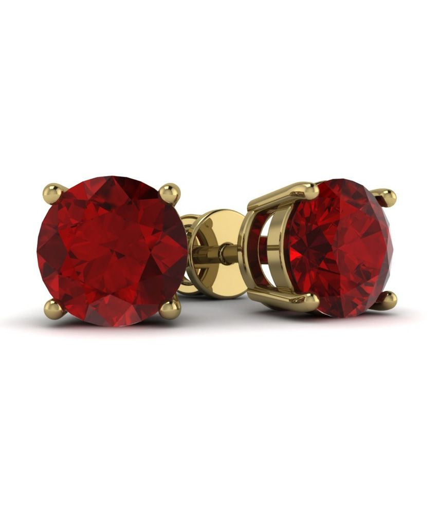 Ciemme Red Ruby Synthetic Gemstone 18 Kt Gold Plated Round Studs