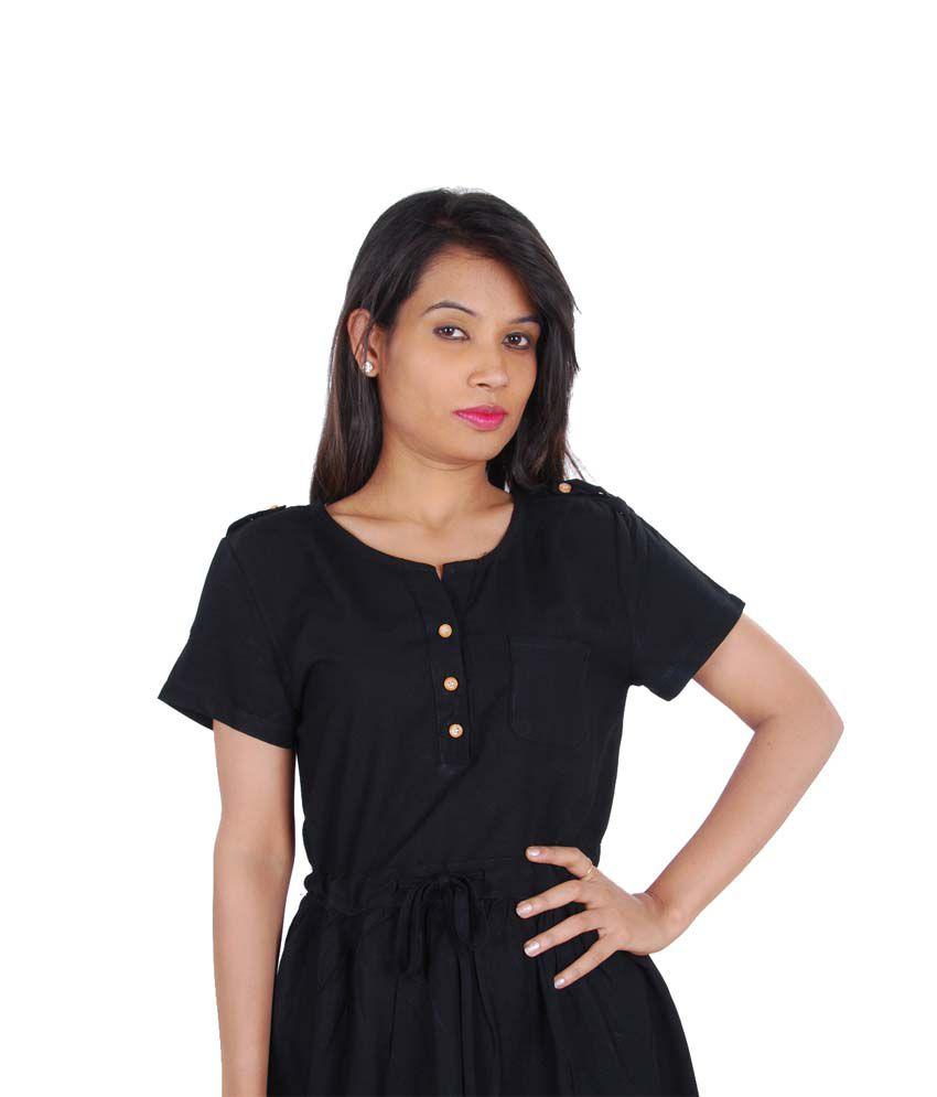 GWYN Black Cotton Dresses