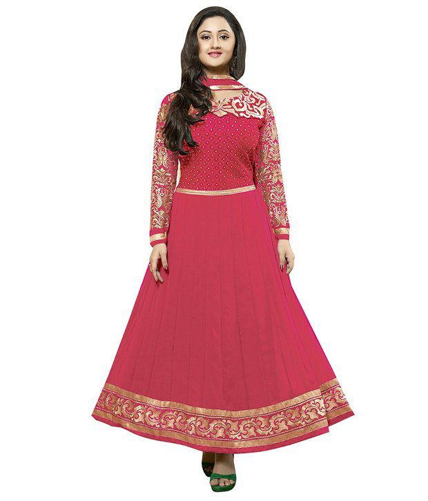 Khodiyar Creation Pink Faux Georgette Semi Stitched Dress Material