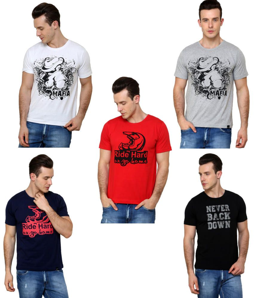 Rigo Combo Of 5 Cotton T-shirts