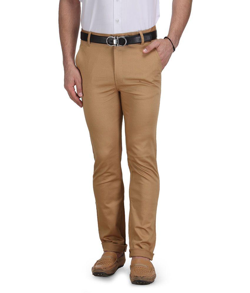 AUSY Beige Cotton Formal Trouser