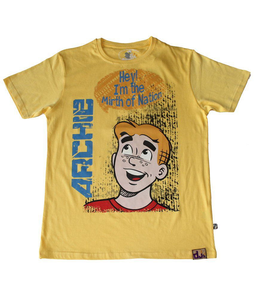 Archie Yellow & Blue Hey I Am The Mirth Of Nation Half Sleeve T-shirt for Men