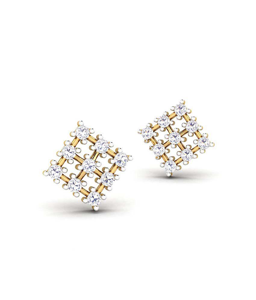 CaratStyle 18kt Gold Studs Check Mat Earring