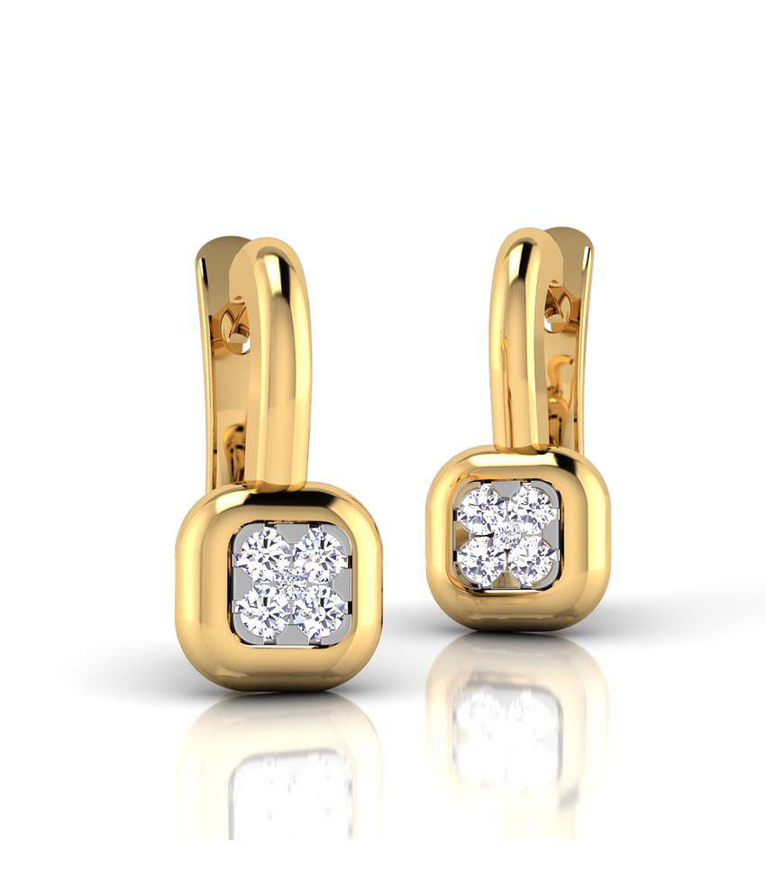 CaratStyle 18kt Gold Studs Cushion Hoop Earring