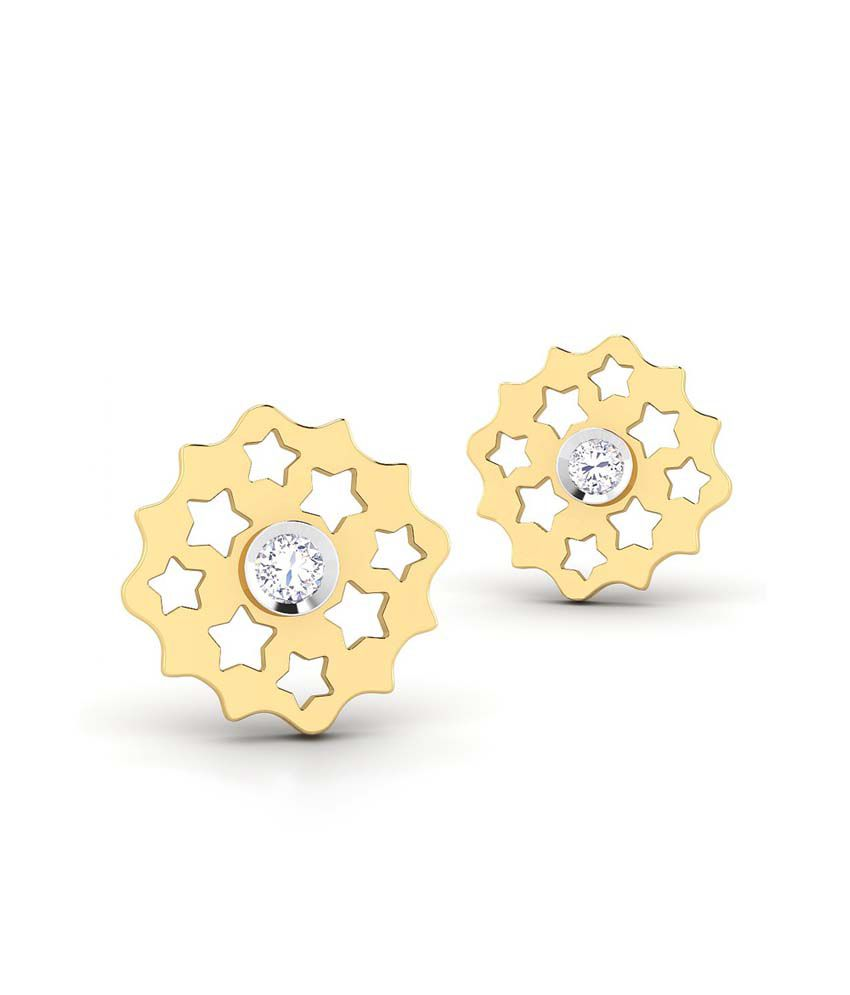 CaratStyle 18kt Gold Studs Star Mesh Earring