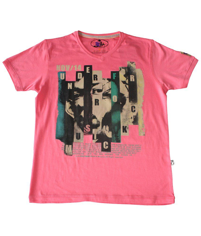 DJS Pink & Black Music Rocks Half Sleeve T-shirt for Men