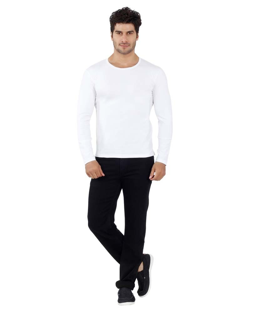 Eetee White Cotton Printed Half Sleeve Round Neck T-Shirt