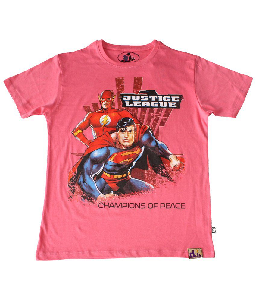 Justice League Pink & Red Champions Of Peace Half Sleeve T-shirt for Men