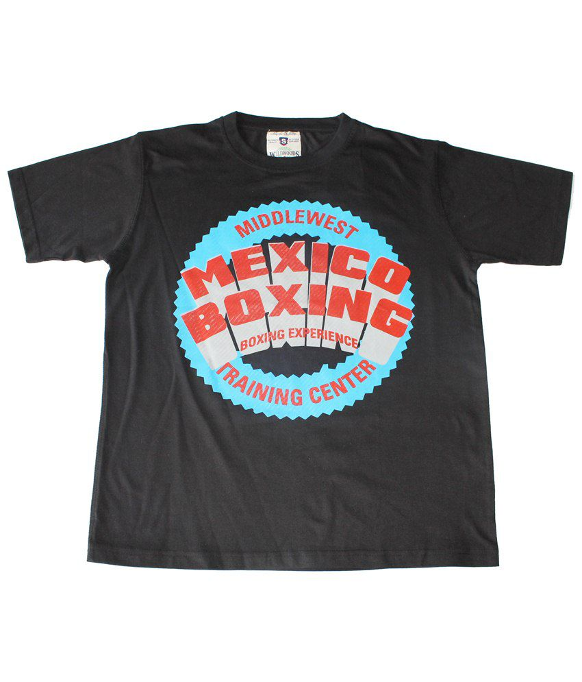 Wildwoods Black & Red Mexico Boxing Half Sleeve T-shirt for Men