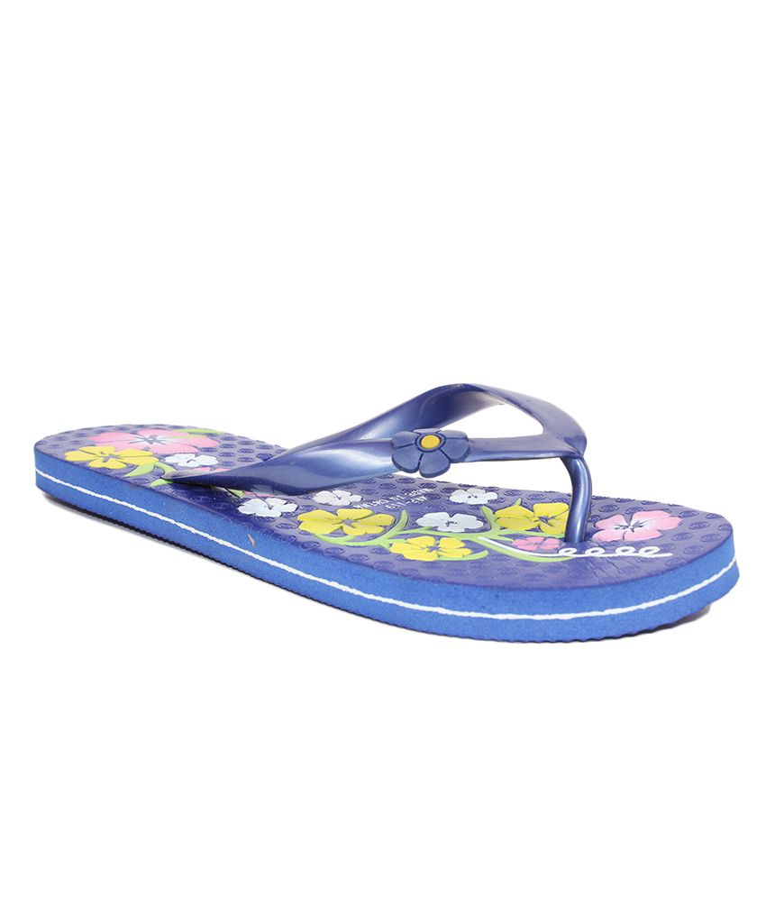 Aalishan Floral Blue Flat Slippers