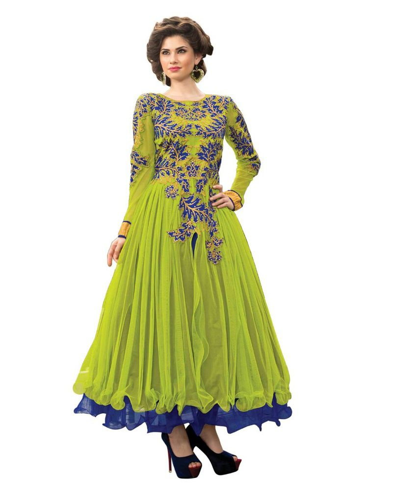 Fashion Lovers Green Net Unstitched Dress Material