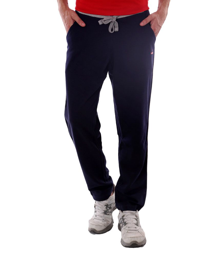 French Twins Blue Cotton Elasticated Running Trackpant