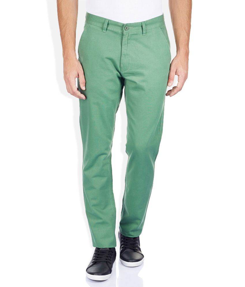 Izod Green Tapered Fit Trousers