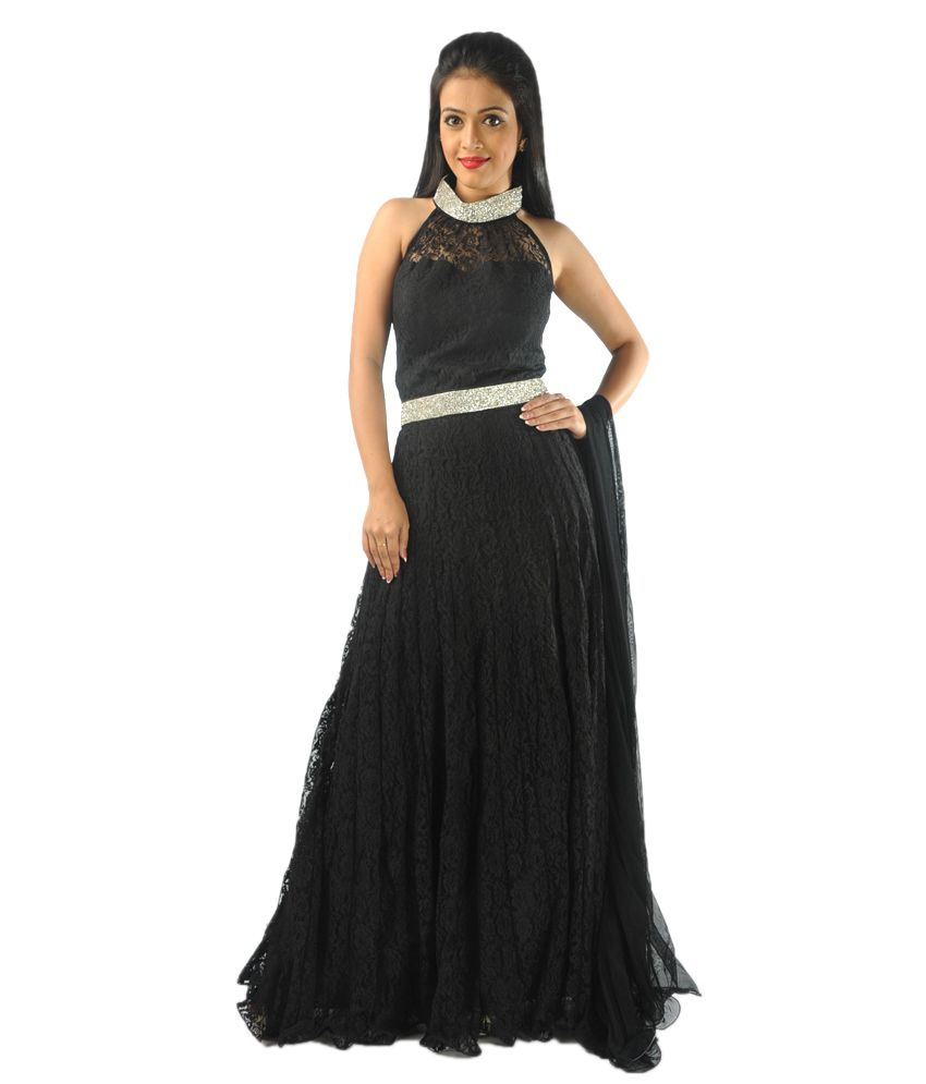 Kanchan Black Net Stitched Suit